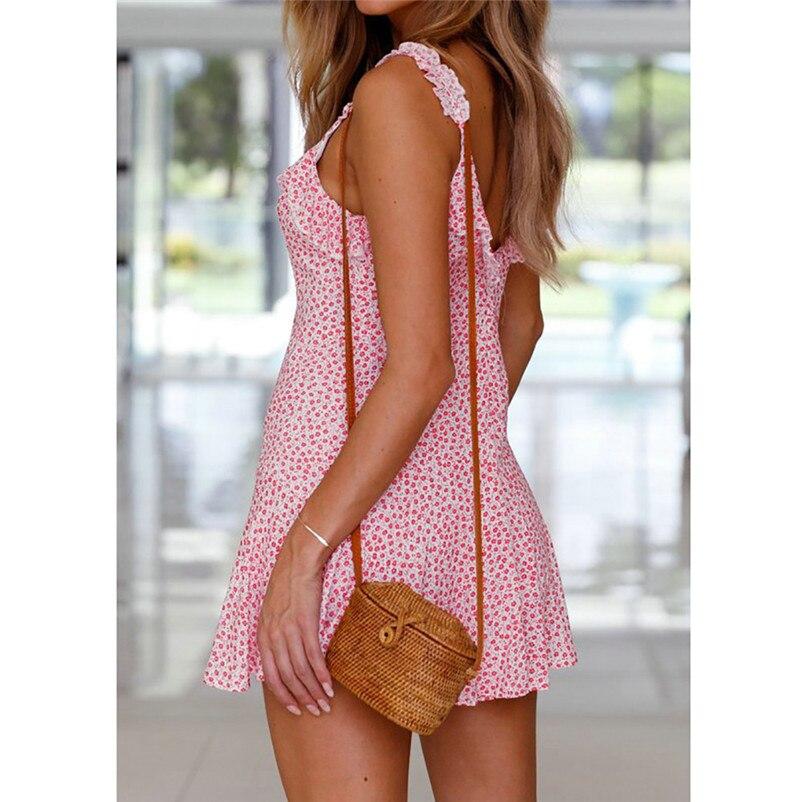 Fashion summer dress 2018 beach dress Womens Holiday Floral Print Dress Ladies Summer Beach Sleeveless Party Dress robe Y09#N (14)