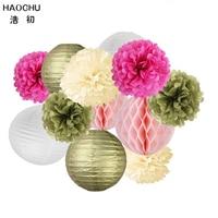 HAOCHU 12pcs Set Tissue Honeycomb Ball Paper Flower Round Lantern Wedding Decoration Gold And White Party