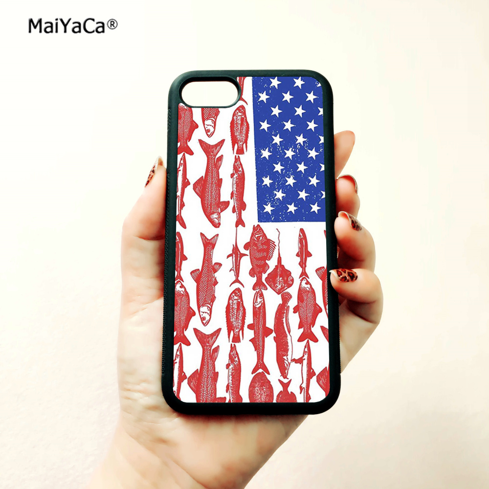 American flag fishing soft silicone edge phone cases for apple iPhone x 5s SE 6 6s plus 7 7plus 8 8plus XR XS MAX cover case in Half wrapped Cases from Cellphones Telecommunications