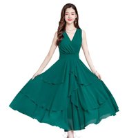 Black,Red,Green,Blue,Purple Bohemian Dress Women's Summer Style Irregular Long Chiffon Dresses Female V Neck Vestidos S XXXL