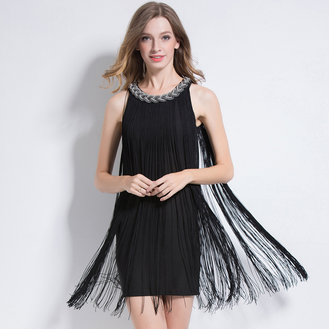 Ombre Metal Chain 1920s Tassel Dress