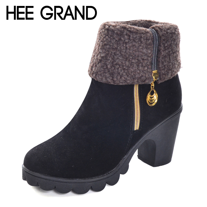 HEE GRAND Fleeces Warm Rubber Women Ankle Boots Creepers Platform Casual Shoes Woman Metal Decoration Women Ankle Boots XWX6007 hee grand inner increased winter ankle boots warm fringe fashion platform women snow boots shoes woman creepers 3 colors xwx6180