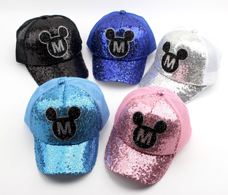 In Quality Summer Cap Net Yarn Children Snapback Sequin M Mickey Cap Sequined Net Hats Cool Hip Hop Cap Hat Kids Caps Mesh Kasket Viseir Superior