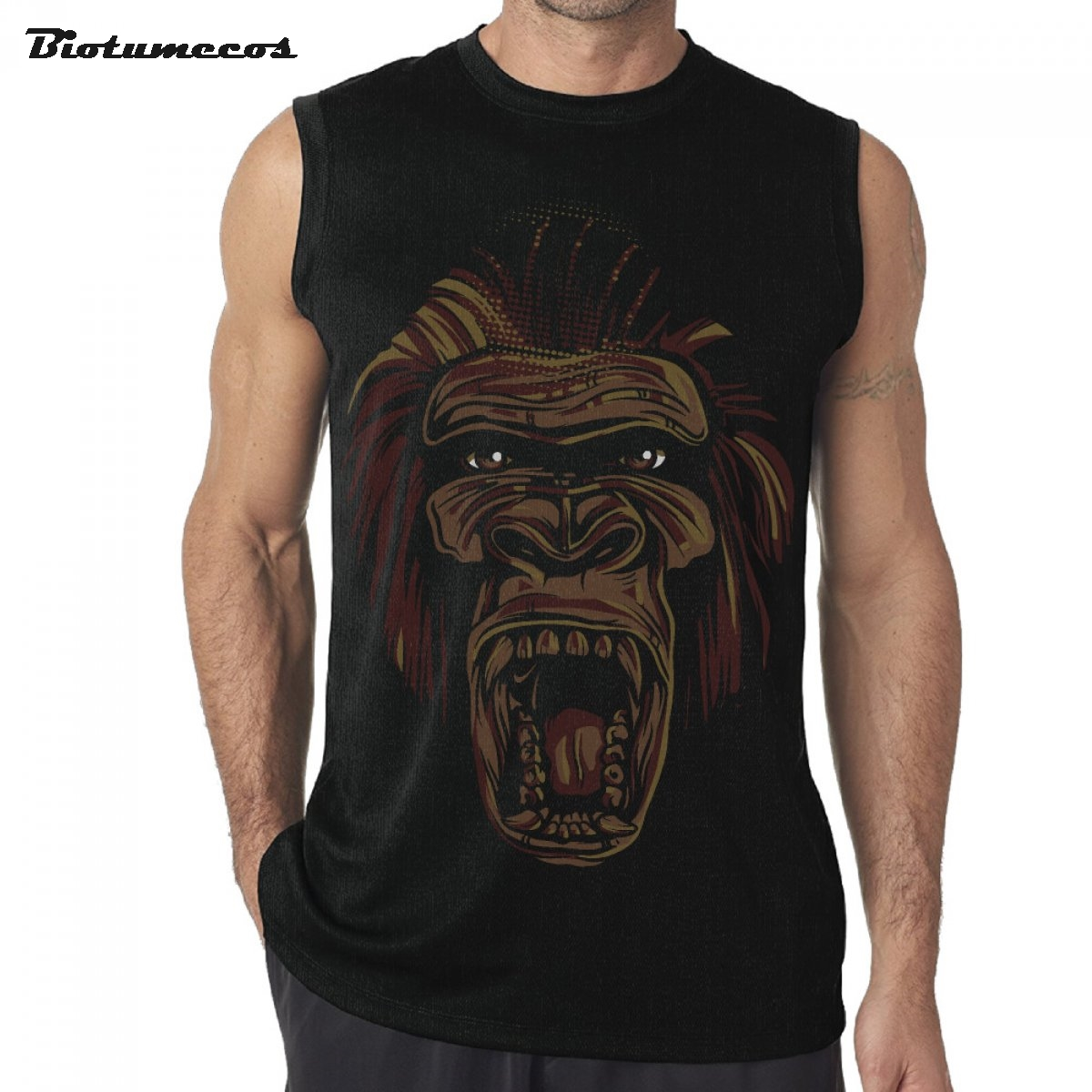 Men Tank Tops Fashion Brand Sleeveless T shirts Ape Man Gorilla Open Big Mouth Roar Prin ...