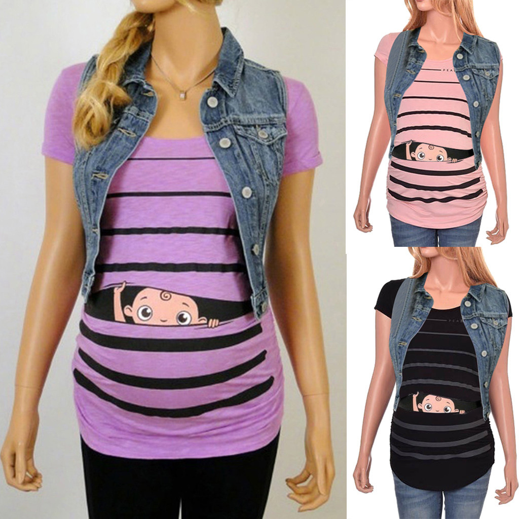 women Fashion Maternity Cute Funny Baby Print Striped Short Sleeve T-shirt Pregnant clothes clothes for pregnant HOOLER