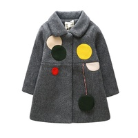 Girls Autumn Winter 2019 New Coat Color Circle Outwear Coat Child Baby Long Woolen Cloth Coat Winter Warm Thickening 2 7T