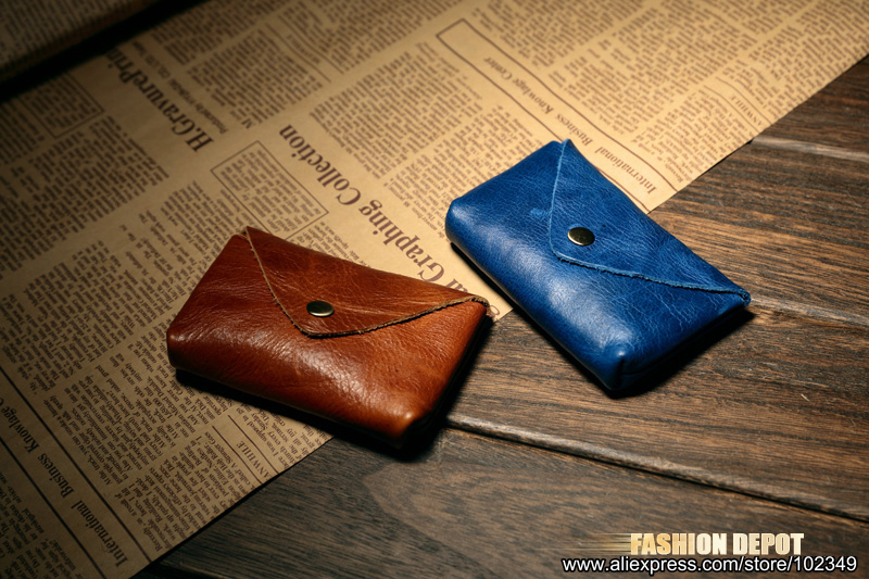 Cow Leather Real Leather Credit card holder business card wallet blue 6 (8)