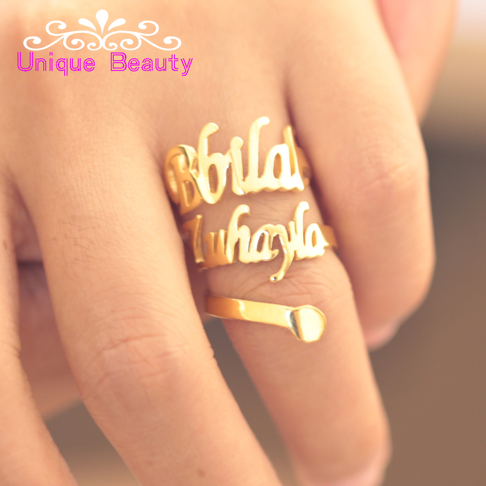 купить Wholesale Golden Name Ring Spiral Ring Custom 2 Nameplate Ring Snake Ring 925 Silver Personalized Hip Hop Jewelry