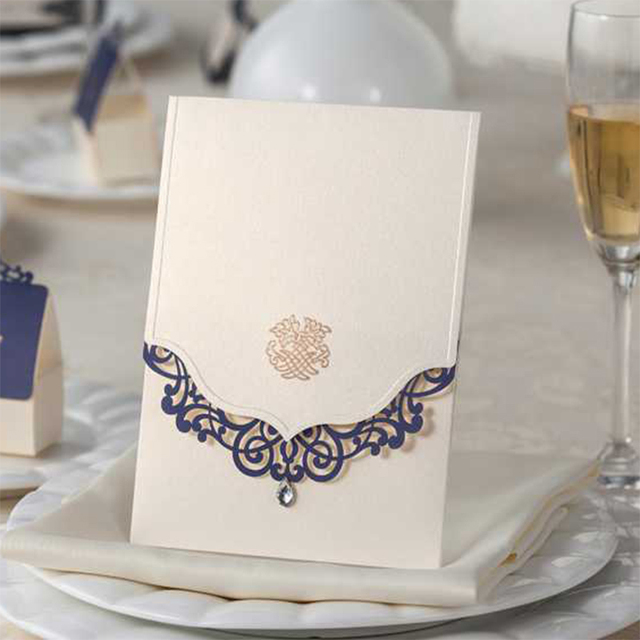 New Pattern Vintage Design Wedding Invitations Kit Blank Printing  Invitaiton Cards Gem Blue Lace Flower Casamento