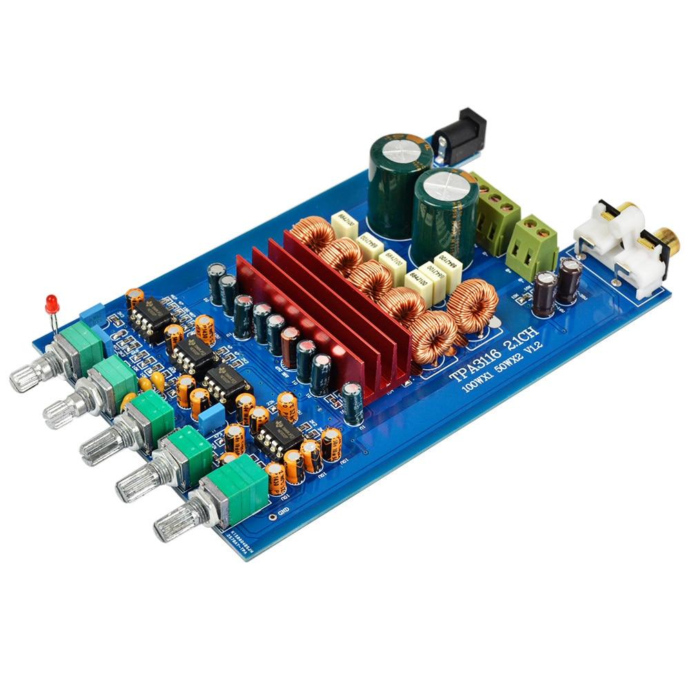 AIYIMA TPA3116 2.1 Digital Audio Amplifier Board 50W*2+100W TPA3116D2 Subwoofer Amplifier DIY Sound System Speaker DC 9-25V