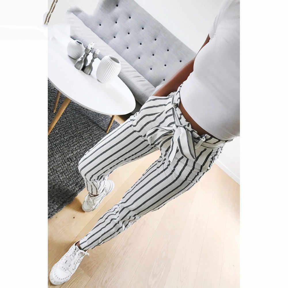 Pantalones Vaqueros Largos A Rayas Para Mujer Pantalon De Cintura Alta Estilo Coreano Ck Pantalones Y Pantalones Capri Aliexpress