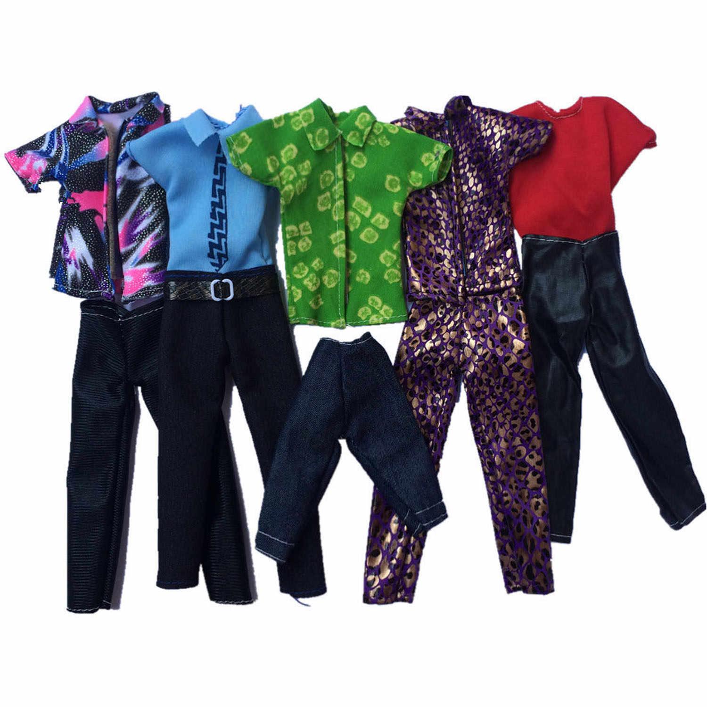 Besegad 5Set Mini hombres muñeca ropa pantalones de chaleco camiseta pantalones camisetas trajes de accesorios para Barbie ken juguete