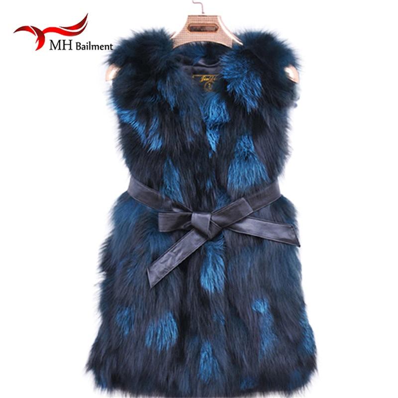 Silver Fox Vest Leather High Quality Women Fur Vest Autumn Femle Fur Vest Winter Warm Sleeveless