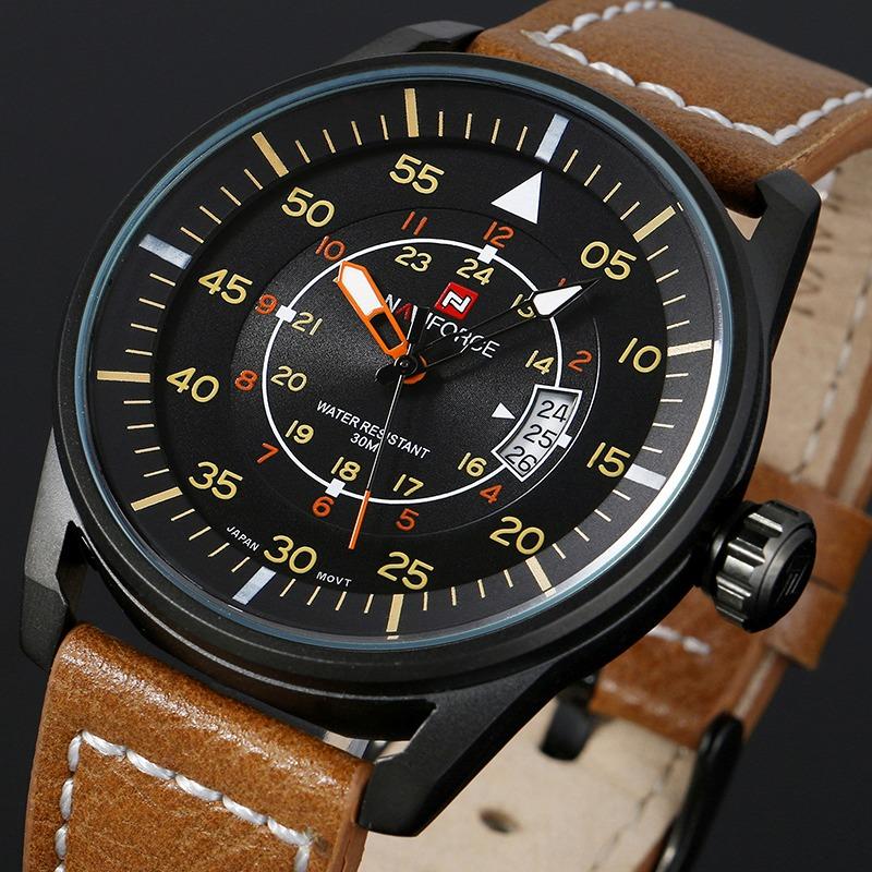 Prix pour Haut De Luxe Marque NAVIFORCE Hommes Sport Montres Hommes de Quartz Heure Date Horloge Mâle Montre En Cuir Casual Armée Militaire Poignet montre