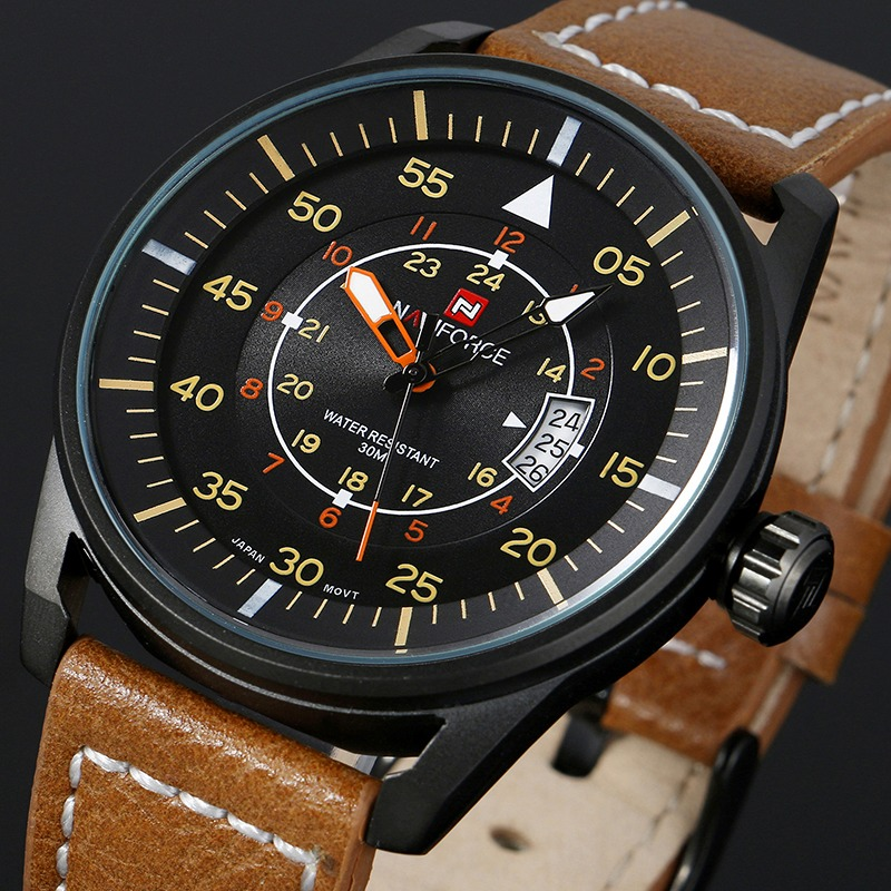 Top Luxury Brand NAVIFORCE Men Sports Watches Men's Quartz Hour Date Clock Male Leather Watch Casual Army Military Wrist Watch luxury brand men s quartz date week display casual watch men army military sports watches male leather clock relogio masculino