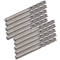 CNBTR 10pcs Acrylic PVC Carbide CNC 4 Flute Spiral Bit End Mill Cutter 3.175 x 15mm