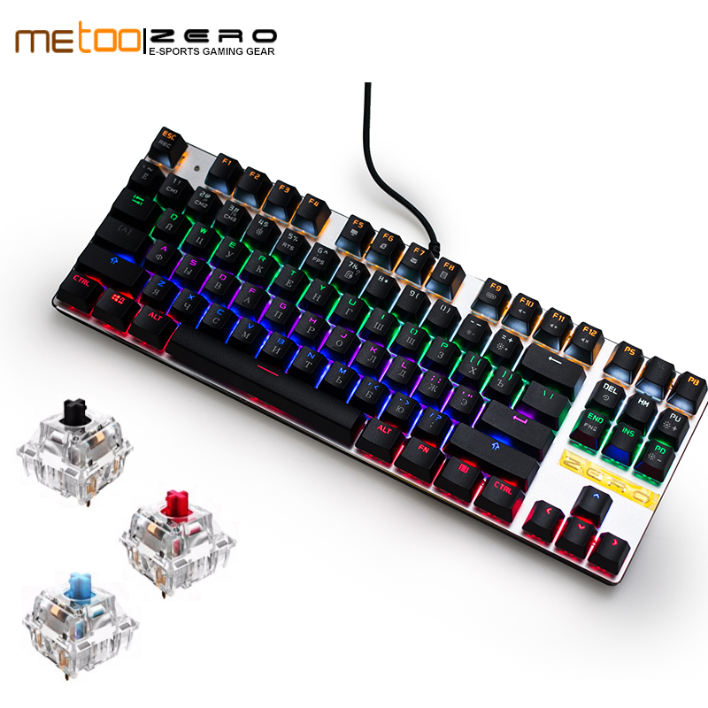 все цены на Gaming Mechanical 87/104 Keyboard Anti-ghosting Luminous Blue Red Black Switch Backlit LED wired Russian/English/Spanish онлайн
