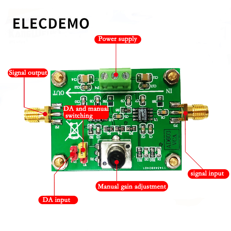 Image 2 - AD603 Variable Gain Amplifier Module Voltage Amplifier Voltage Control Adjustable VCA Race Module 80dB-in Demo Board Accessories from Computer & Office