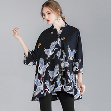 Women's casual Plus size shirts Loose large size print shirt 3/4 sleeve stand neck spring new Tops Chinese style Crane printing plus crane bird print fluted sleeve dress
