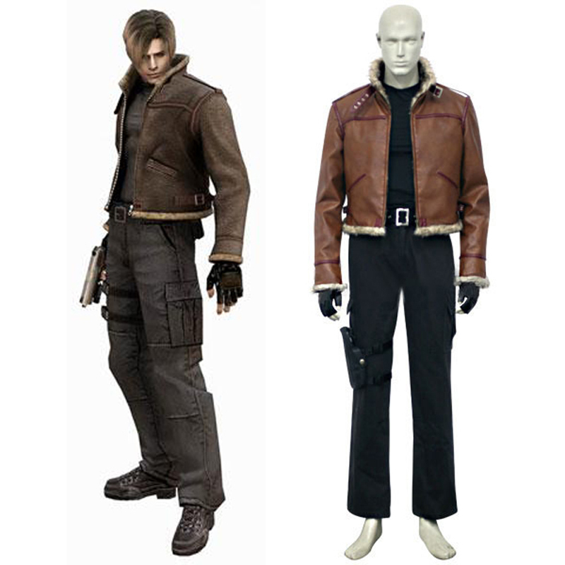Resident Evil 5 Leon Cosplay Suit Leather Jacket Men's Halloween Costumes Custom-made Free Shipping
