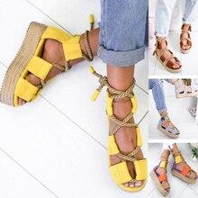 Summer Wedge Women's Sandals Lace Up Platform Sandals Hemp Footband Strap Shoes Harajuke Cross-Strap Sandals New Style Shoes недорого