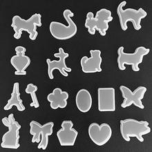 19 Pieces/Set 3D Cute Animal Crystal Geometric Jewelry Mold Pendant Silicone Ornament Resin DIY Craft Making Tool