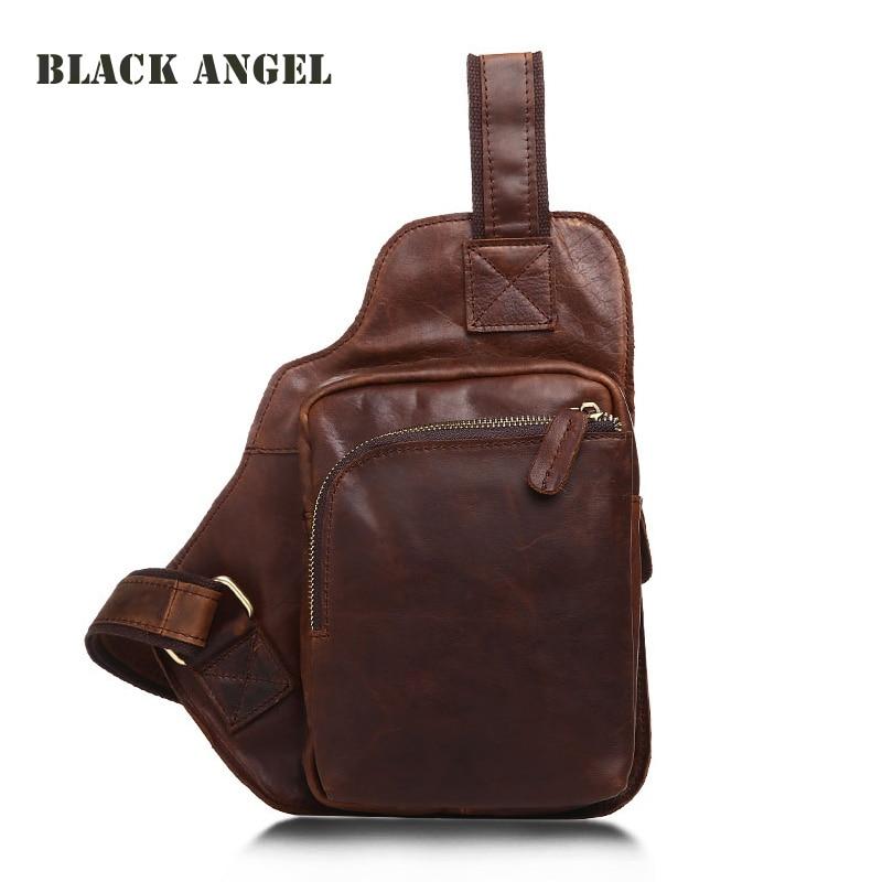Men/'s Genuine Leather Casual Sling Chest Crossbody Single-Shoulder Retro Bag