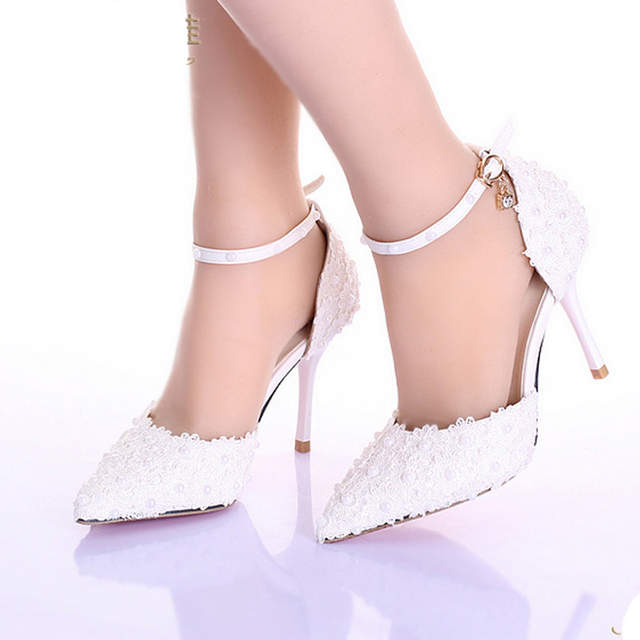 0c80bc52e16833 3 Inches High Heel Ivory Color Bridal Dress Shoes Women Party Shoes for Wedding  Prom Pumps