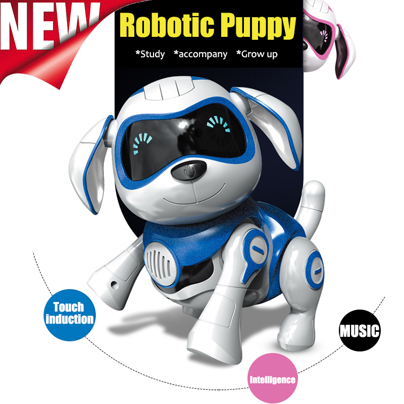 Induction toy Dog Control Dog Smart Robot Electronic Pet Interactive Program Dancing Walk Robotic Animal Toy Gesture Following dog animal series many chew toy