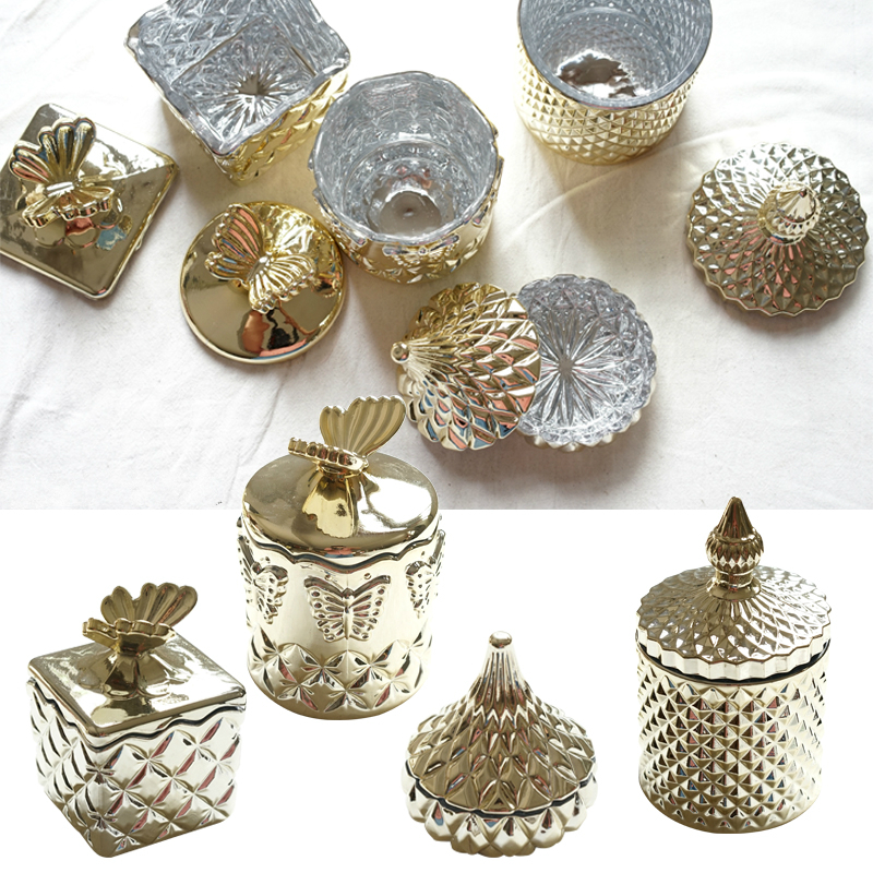 Golden Glass Embossed with Lid Jewelry Box Cosmetic Box Toothpick Cotton Swab Storage Box Jewelry Jars Wedding Room Decoration