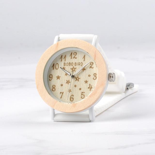 BOBO BIRD Timepieces Women Wood Watches Soft Silicone Band Starry Sky Fashion Design Ladies Quartz Wristwatch W*P21 Women's Watches