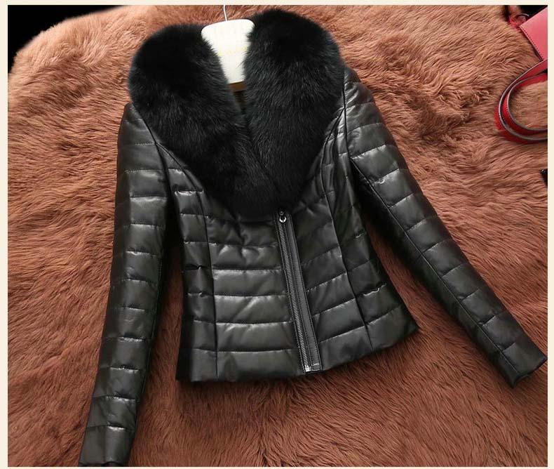 2017 women new fasion duck down coat short genuine leather lady natural real sheepskin jacket large fox fur collar black 2xl 3xl