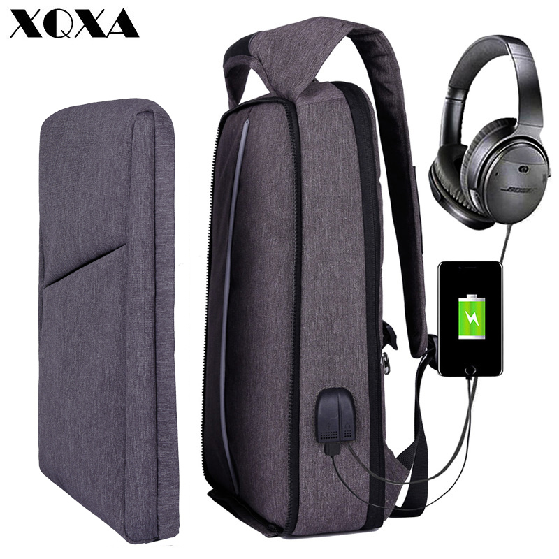 "Xqxa Slim Laptop Backpack For Men/women With Usb& Headphone Port Anti Theft Business Backpack Unsex 17.3"" Daily Bagpack Gray"