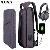 XQXA Slim Laptop Backpack for Men/Women with USB& Headphone Port Anti Theft Business Backpack Unsex 17.3 Daily Bagpack Gray