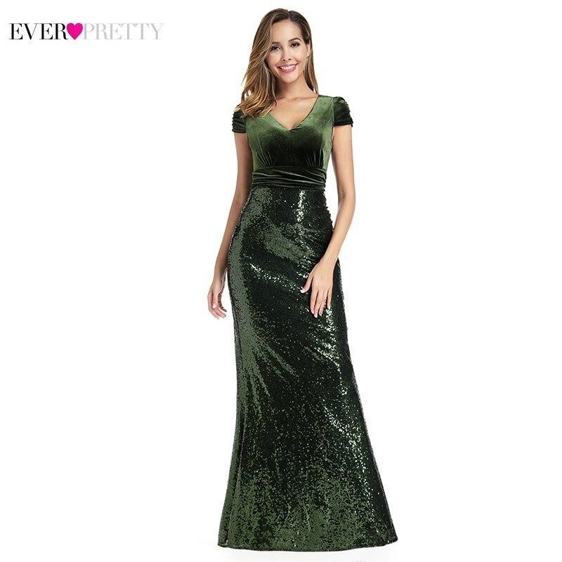 Ever Pretty Dark Green Mermaid Prom Dresses Long V-Neck Short Sleeve Sequined Formal Party Gowns Vestidos De Fiesta De Noche