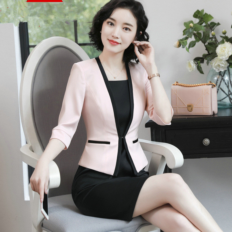 Fashion Hit Color Elegant Women Blazers V- Neck Formal Suit Business Jackets S-3XL Casaco Patch Slim Bleizer Femenino Clothing