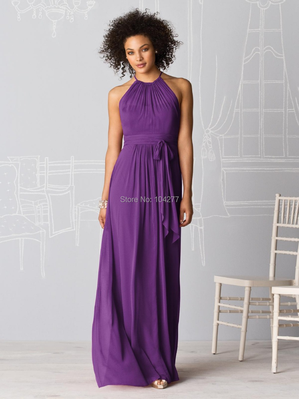 Party dress costume picture more detailed picture about under under 70usd cheap purple chiffon bridesmaid dresses a line halter high full length long wedding ombrellifo Choice Image