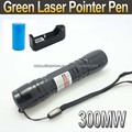 Laser 619 Black 300mW Green Laser Pointer Pen+ 1 x 16340 1200mah Battery+Charger