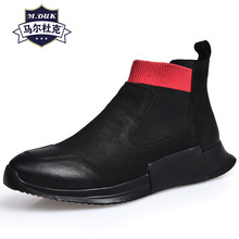 High top shoes men real leather winter velvet cotton Riding Boots breathable sneaker fashion casual Leisure mens