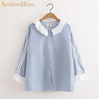 Japanese Autumn New Plaid Lace Patch Shirt Women Loose Ruffles Women Blouses Oblique Butterfly Sleeve Sweet