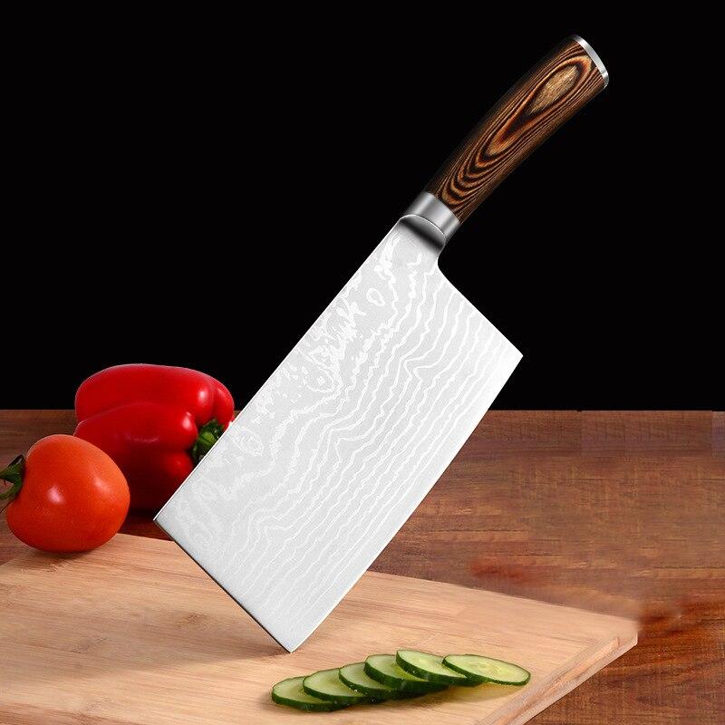 Profissional de aço inoxidável chinês faca de corte cozinha chef carne cutelo faca cozinha cozinhar ferramentas