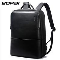 BOPAI Brand Laptop Bag Backpack Men 14 Inch Leather Shoulders Travel Laptop Bag Backpack Waterproof 3 Colors Black Blue Green