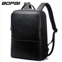 BOPAI Brand Laptop Bag Backpack Men 14 Inch Leather Shoulders Travel Laptop Bag Backpack Waterproof 3