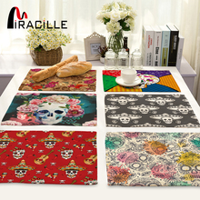 Miracille 2/4/6pieces Set Sugar Skull Art Home Decorative Table Place Mats Flower Skulls Pattern Placemats For Kitchen Table