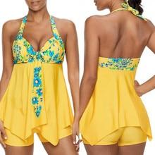 цена на bikini girls Womens Sexy Halter Floral Print Swimwear Bathing Asymmetric swimsuit plus size sexy bikini set