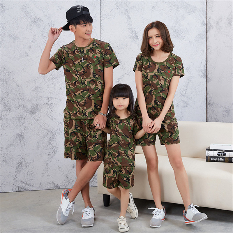 Summer Family Matching Clothes Set Camouflage Clothes Set Short Sleeve T Shirt Knee Length Shorts Father