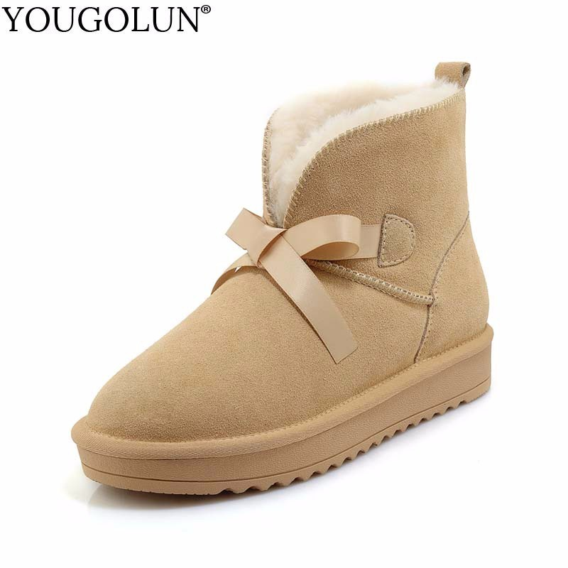 YOUGOLUN Genuine Suede Snow Boots for Women Winter New Fashion Warm Black Blue Shoes Woman Front Lace up Flat Ankle Boots #B186 xiangxue warm and fuzzy black suede flat boots for winter 2018 chelsea boots for women