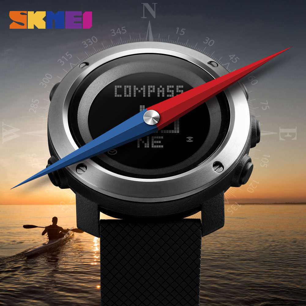 SKMEI Men Watch Compass Watch Sport World Time Pressure Pedometer Stopwatch Calorie Electronic Digital Watches Relogio Masculino skmei men s watches compass world time week date stopwatch chronograph led display digital watch clock man sport watches for men