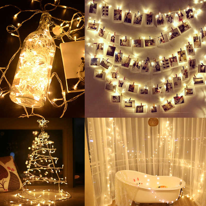 100 LEDs Decorative Fairy String Lights 8 Lighting Modes Wedding Party  Waterproof Ice Light for Outdoor Indoor Wall Decoration