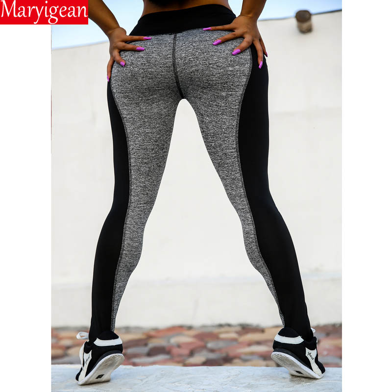 Maryigean S 3XL Plus Size Women High Waist Casual Workout Legging Super Stretch Black Gray Patchwork Fitness Legging Summer Pant in Leggings from Women 39 s Clothing